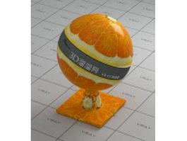 Cross section of orange fruit vray material