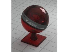 Dark red bottle glass vray material
