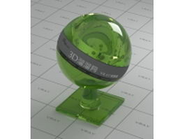 Polished green glass bottle vray material