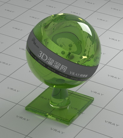 Polished green glass bottle material rendering