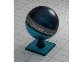 Dark cyan coated glass vray material