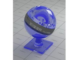 Blue tinted decoration glass vray material