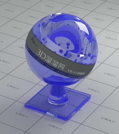 Blue tinted decoration glass material rendering