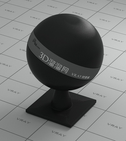 Black rubber and plastic material rendering