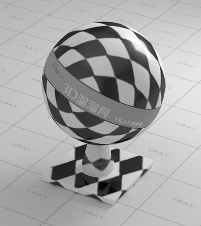 Black and white porcelain floor tile material rendering