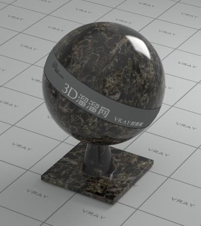 Panama black granite material rendering