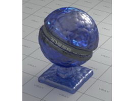 Blue art decorated glass vray material