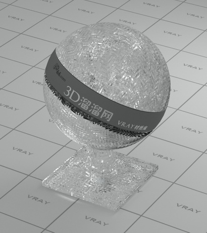 Embossed decoration glass material rendering