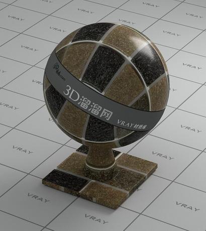 Stone mosaic painting material rendering