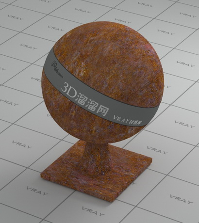 Oxidized metal rust material rendering