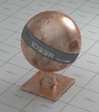 Copper old shiny material rendering