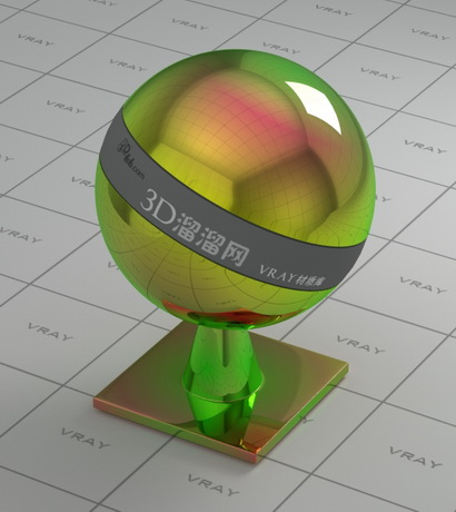 Colored glossy finish chrome material rendering