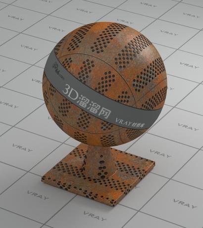 Rusty metal perforated plate material rendering