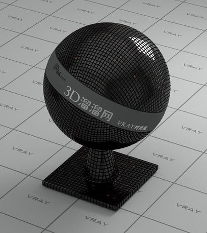 Crystal mosaic tile - black material rendering