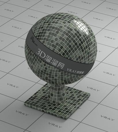 Porcelain mosaic tile - mixed material rendering