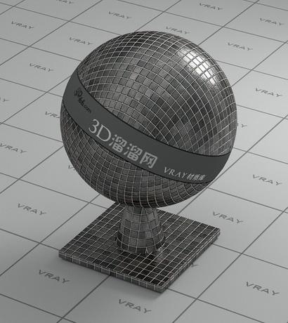 3D mosaic tile - dark gray material rendering