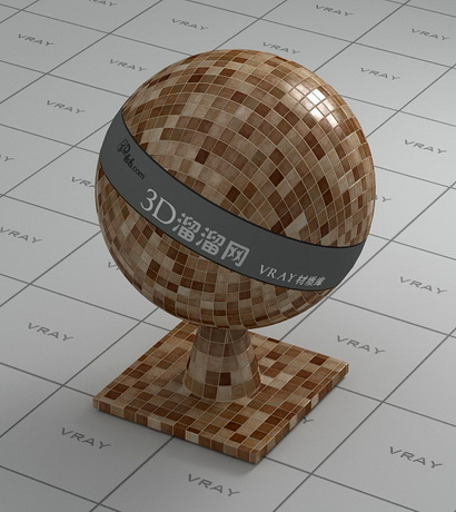 Mixed mosaic tile- coffee color material rendering