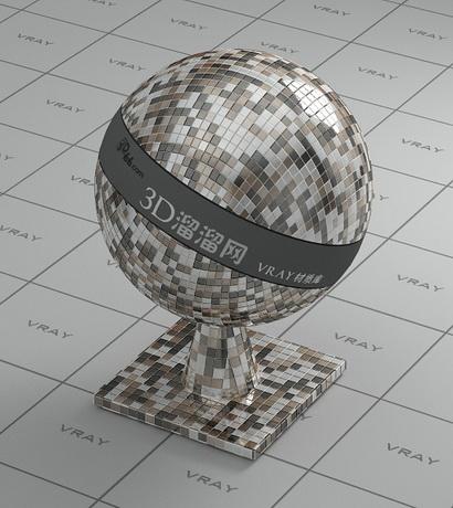 Mixed metal mosaic tile material rendering