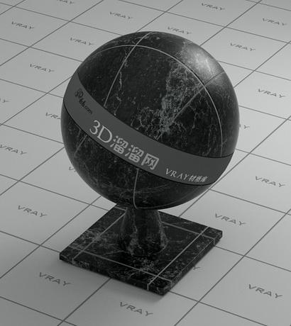 Black marble tile material rendering