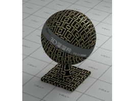 Metal mosaic pattern - black and golden mixed vray material