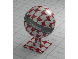 Ceramic mosaic pattern - red and white mixed vray material
