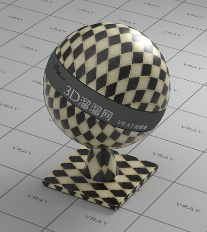 Ceramic tile - yellow and black checker material rendering