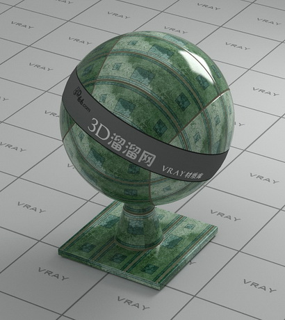 Glazed porcelain tile - green material rendering