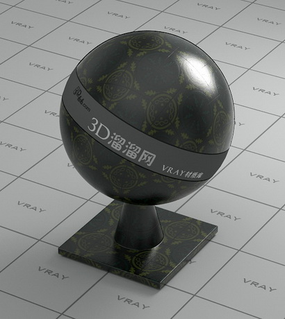 Glazed ceramic brick - black material rendering
