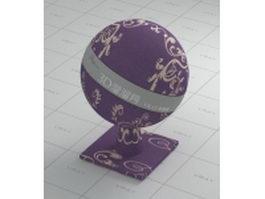 Plush purple carpet - flower patterns vray material