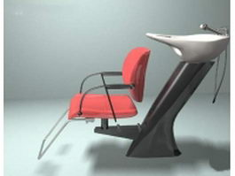 Shampoo chair with basin 3d preview