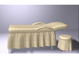 Massage table and chair 3d preview