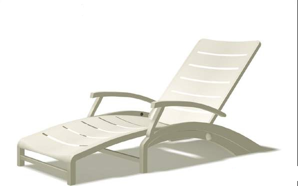 White sun loungers 3d rendering