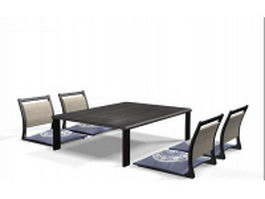 Japanese style bar furniture sets 3d preview