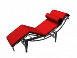 Modern red chaise longue 3d preview