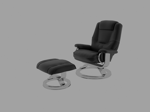 Reclining chair and ottoman 3d rendering