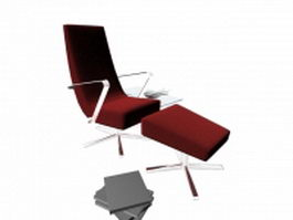 Office reclining chair with ottoman 3d model preview