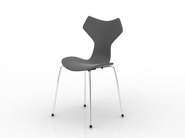 Grey plastic coffee chair 3d rendering