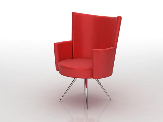 Red tub chair 3d rendering