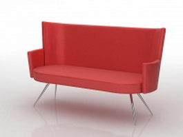 Red happy sofa loveseat 3d preview