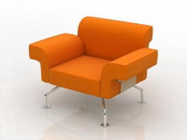 Chrome steel legs upholstered chair 3d preview
