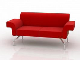 Two-seater red sofa 3d preview