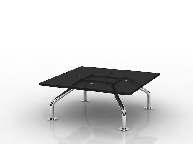 Black glass coffee table 3d rendering