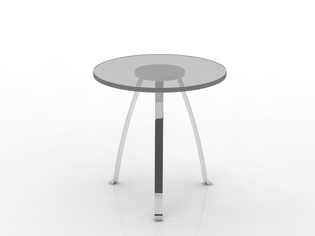 Round glass cafe table 3d rendering