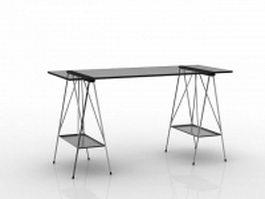 Black glass pony desk 3d preview
