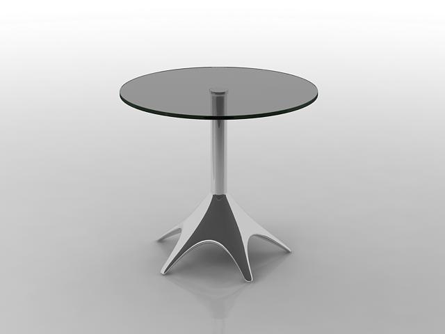 Chrome steel glass table 3d rendering