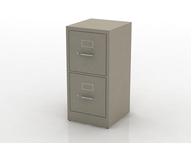 2 drawers steel file cabinet 3d rendering