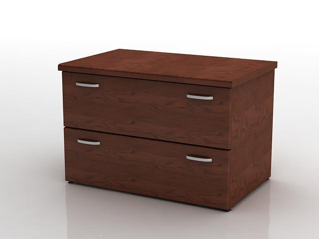 Office wood side cabinet 3d rendering