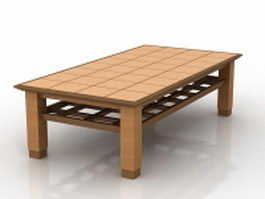 Rectangle wood coffee table 3d preview