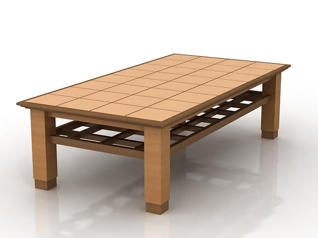 Rectangle wood coffee table 3d rendering