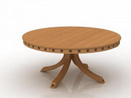 Round wood table 3d preview
